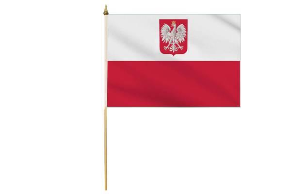 Drapeau avec Hampe Pologne avec Aigle 30 x 45 cm