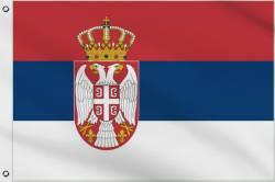 Drapeau Serbie avec Crête 60 x 90 cm